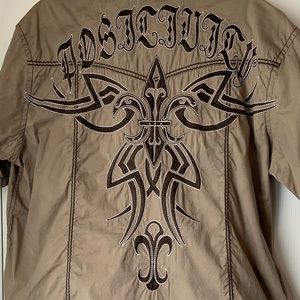 Roar Embroidered Short Sleeve button down shirt